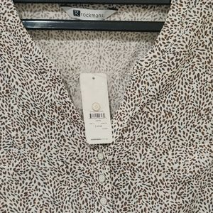 White and khaki blouse